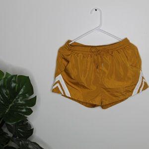 Yellow white stripped workout shorts